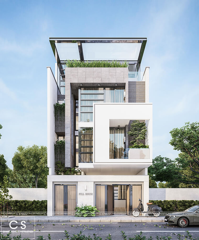 thiết kế kiến trúc nhà phố hiện đại tại vinh