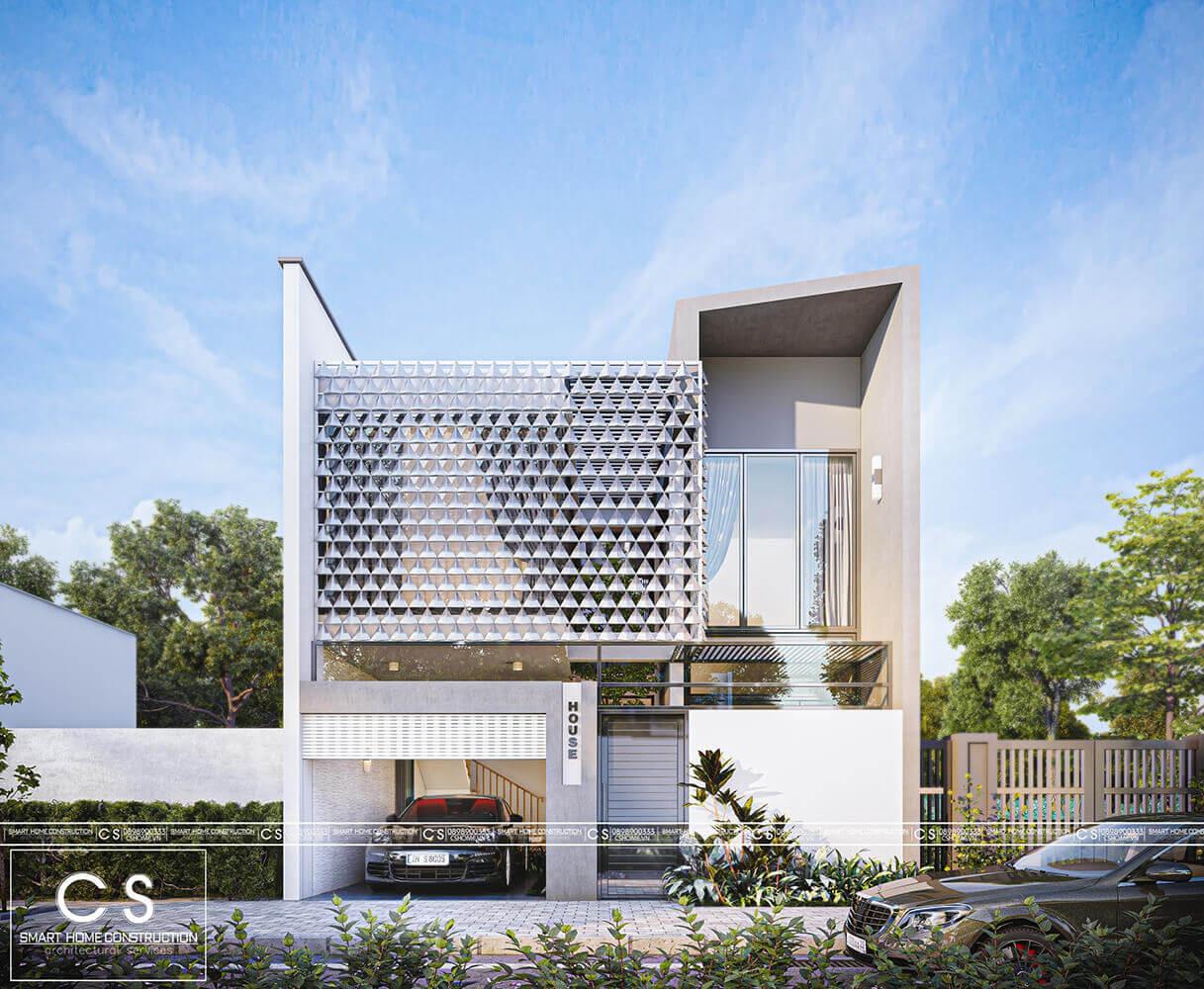 thiết kế kiến trúc nhà phố chị liên