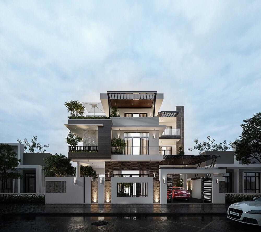 kiến trúc biêt thự nhà anh phong