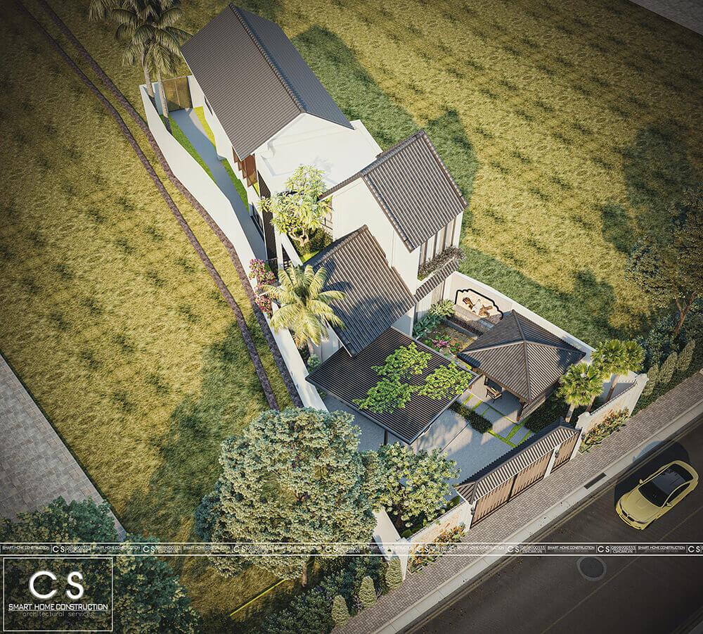 thiết kế kiến trúc nhà tại lô đất không vuông vắn