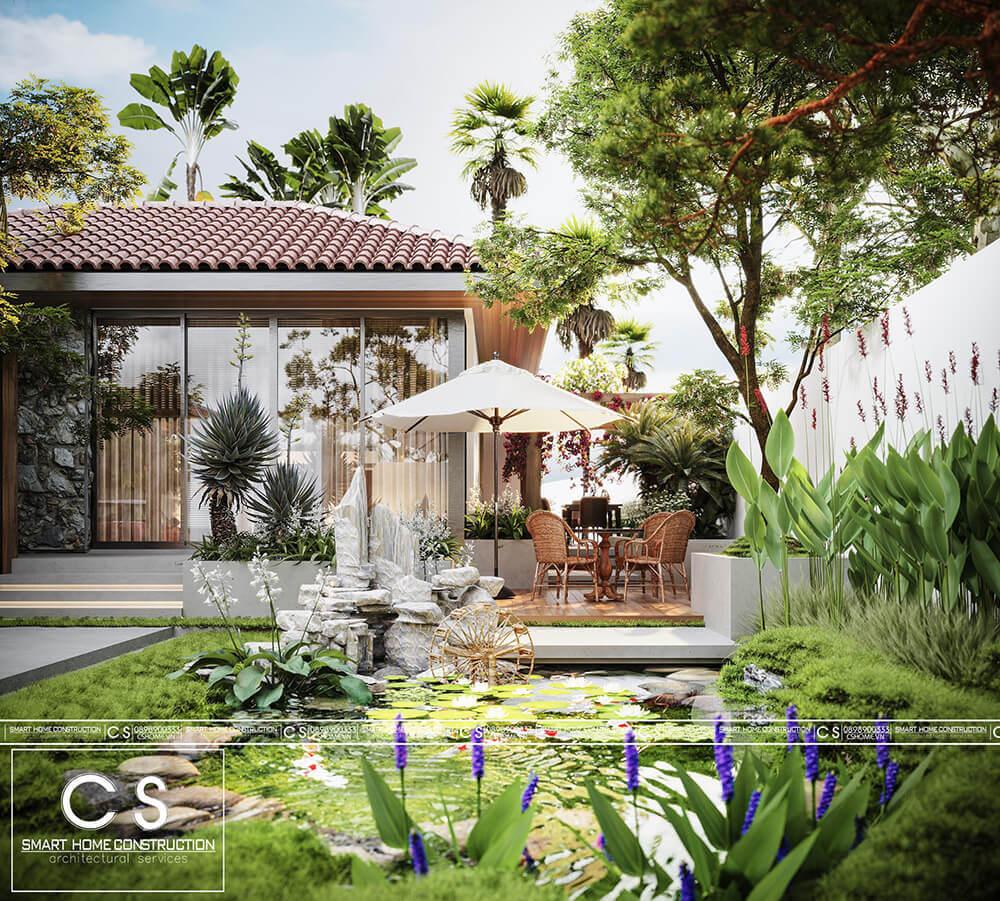 thiết kế cảnh quan biệt thự vườn chị quyên