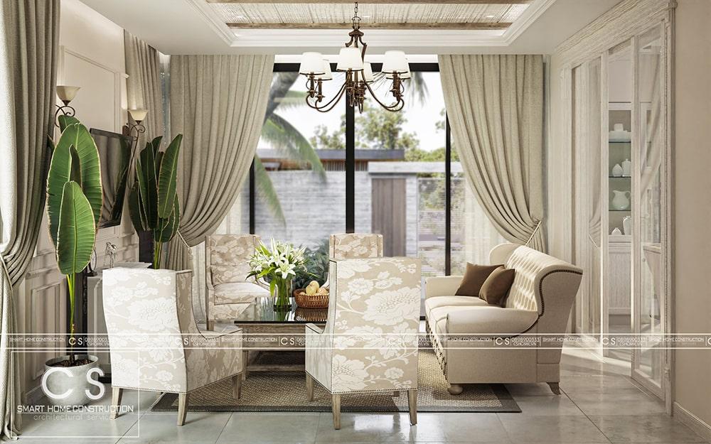 thiết kế nội thất biệt thự vườn chị quyên