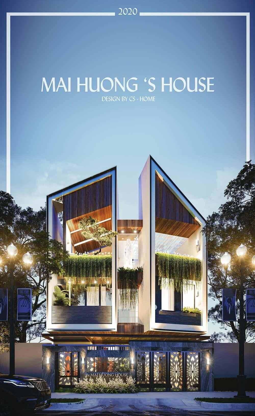 thiết kế kiến trúc nhà phố chị mai hương