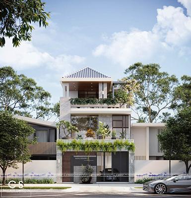 thiết kế kiến trúc nhà phố mái thái 1 trệt 2 lầu hiện đại quận 9 tp hcm
