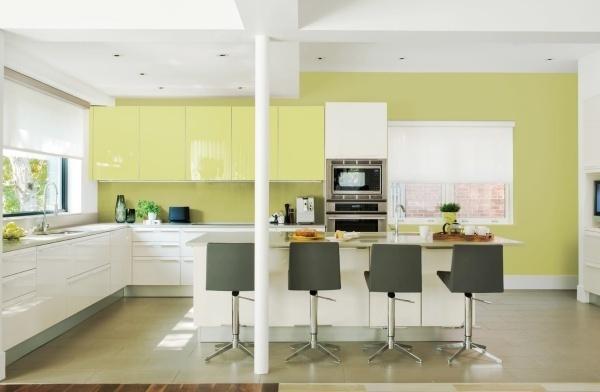 tủ bếp màu xanh lá