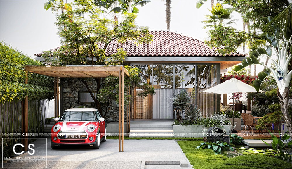 thiết kế biệt thự sân vườn mini độc đáo xu hướng mới năm 2020.
